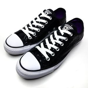 Converse All Star Black Sequin Low Top Sneaker us8